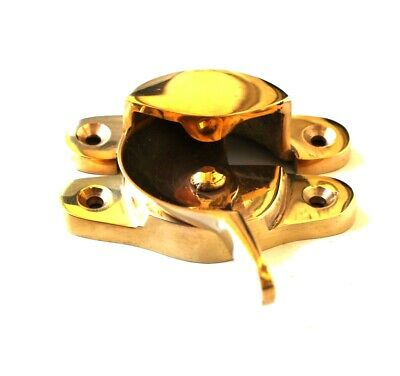 Window Sash Lock Fastener with Smooth Brass Finish Escutcheon Design