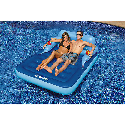 Inflatable Couples Pool Lounger For 2 Person Float Lake Mattress Relax Rest Raft