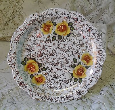 OLD FOLEY JAMES KENT GOLD CHINTZ YELLOW ROSE 22cm PLATE MADE IN ENGLAND