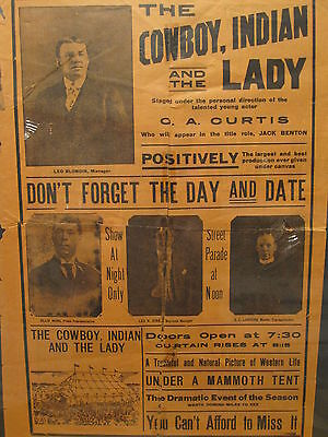 Antique Wild West Blondin Circus Broadside Poster Paper Cowboy Indian Lady Tx Ok