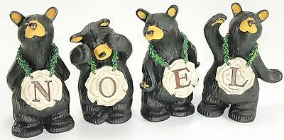 Set of 4 Noel Bears Big Sky Carvers Bearfoots Figurines Jeff Fleming