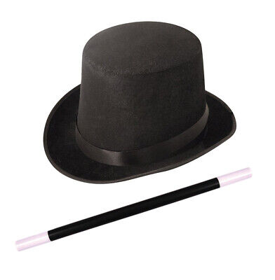 Magician Black Top Hat Magic Wand Props Set Fun Fancy Party Dress Up Cosplay