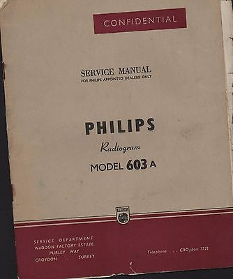 PHILIPS. Radiogram Model 603 A  Service Manual  (ZP.29)