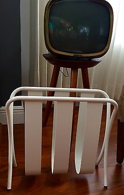Rare Metal Mid Century Metal Magazine Rack Stand Ivory Modern Contemporary