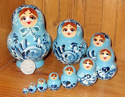 Russian hand painted nesting doll 10 SKY BLUE MATRYOSHKA Birds Nikitina signed