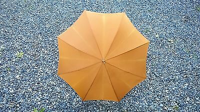 Vintage retro 1960s Lawtex golden beige / amber umbrella faux bamboo handle