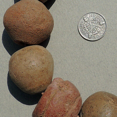 10 ancient terra cotta clay spindle whorls beads djenne mali #8
