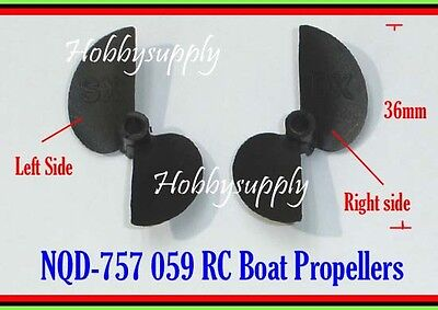 2 SETS (Left x 2 & Right x 2 )NQD-757 757-059 RC Boat Propeller for Replacement