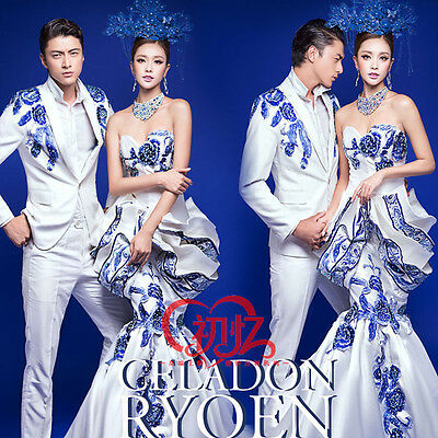 NEW Retro Blue And White Porcelain Prom Party Evening Dresses Pageant Ball Gown