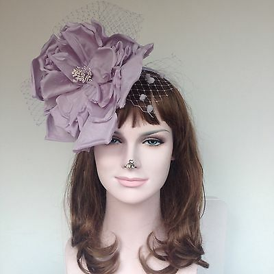Kentucky Derby Feather Floral Satin Headband Fascinator Cocktail Lilac