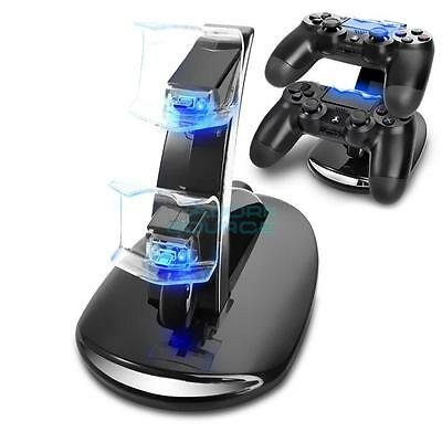 New LED Dual Mini Charging Dock Stand for PS4 Controller Black it