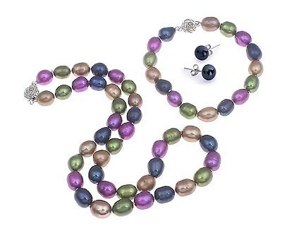FAB Multi-Coloured 8-9mm Cultured Freshwater Pearls necklace, bracelet earrings