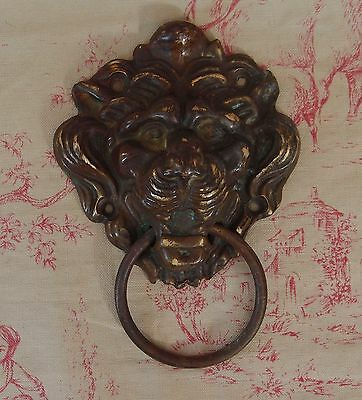 ANTIQUE FRENCH BRONZE DOOR PULL HANDLE Hardware Lion 5.63 inches