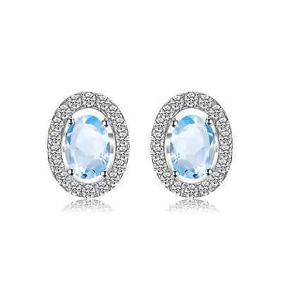 JewelryPalace 1.1ct Natural Blue Topaz  Oval  Stud Earrings 925 Sterling Silver