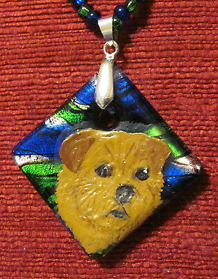 Norfolk Terrier hand painted on glass square pendant/bead/necklace