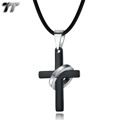 TT Silver/Black Ring Stainless Steel Cross Pendant Necklace (NP301D) NEW