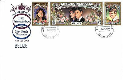 1986 BELIZE Royal Wedding STAMPS Set 3v FIRST DY COVER Ref:A314