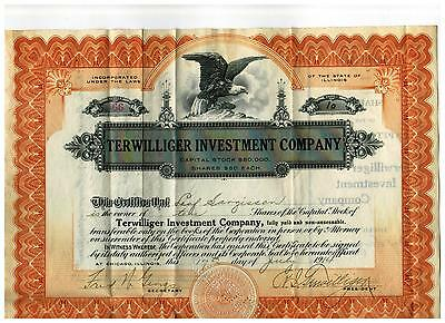 1914 Terwilliger Investment Company Stock Certificate  *** Hand Signed