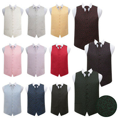 DQT High Quality Swirl Men's Wedding Waistcoat Vest with Necktie & Hanky Set