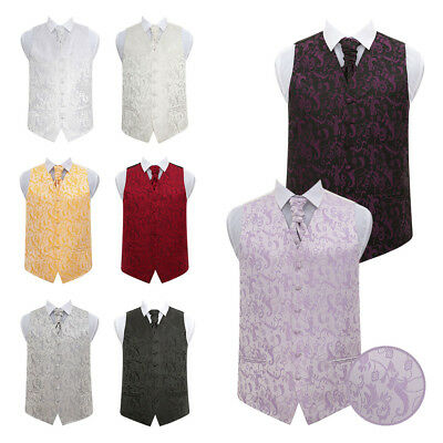 DQT High Quality Passion Floral Men's Wedding Waistcoat Vest with Cravat & Hanky