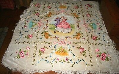 Vintage Romantic Italian Hand Painted Coverlet Bedspread Damask Rare Tapestry