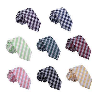 Men's Tie Woven Gingham Check Fashion Party Novelty Modern Business Slim Necktie
