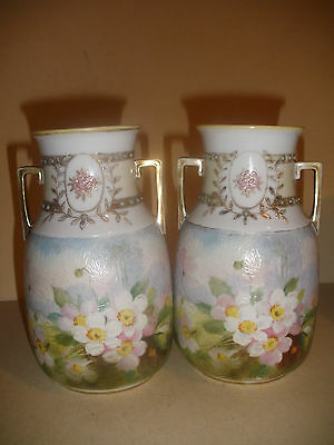 Beautiful Pair of Antique Japanese Nippon Morimura  Vase Hand painted Flowers