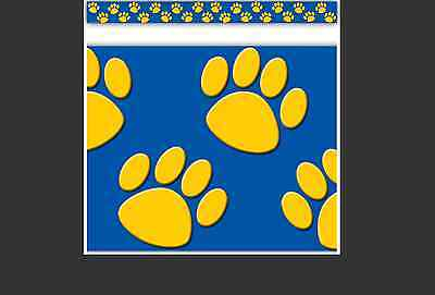 TCR BLUE WITH GOLD Paw Prints Bulletin Board Border Trim (4643)