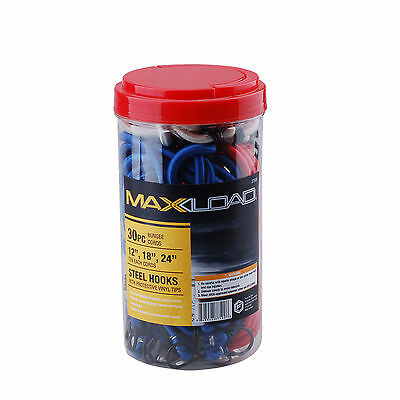 """Maxload 30 Piece Bungee Cord Tie Down Set 10 Each, 12"""", 18"""", 24"""" with Steel Hook"""