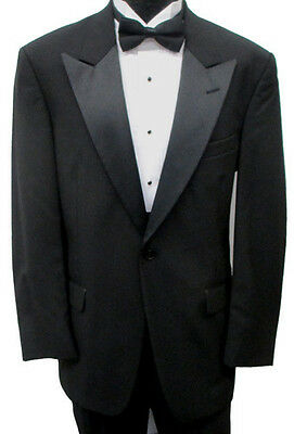 Black Satin Peak Lapel Tuxedo Jacket Retro Prom Halloween Costume Bond Spy 007