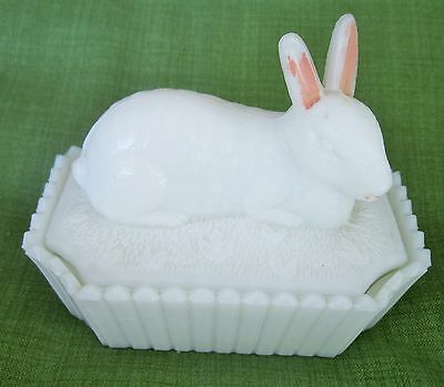 Antique RARE Westmoreland 1800 White Milk Glass Covered Jar Dish Rabbit Bunny