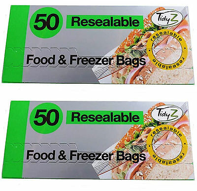 Tidy Z 50 100 Resealable Food Freezer Fridge Strong Kitchen Veg Bags 17cm X 19cm
