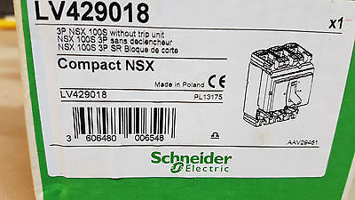 Schneider Compact  NSX LV429018  3P  NSX 100S WITHOUT TRIP circuit breaker