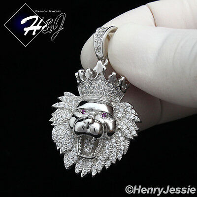 925 Sterling Silver Icy Diamond Bling Small Lion King Head Crown Pendant*Ssp122