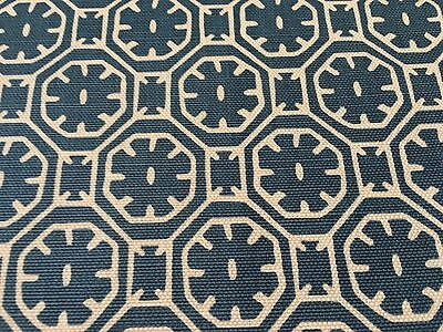 China Seas Quadrille Geometric Fabric Ceylon Batik Reverse Navy 11.50 yd 8155-10