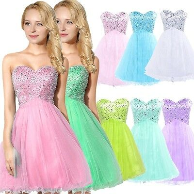 Beaded Short Bridesmaid Evening Gown Mini Girls Prom Party Cocktail Dresses 6 12