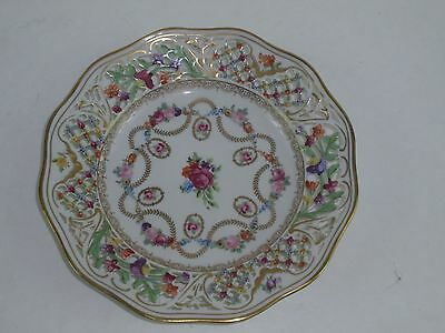 SCHUMANN Bavaria US Zone Dresden Flowers with Gold Swags Pierced Plate