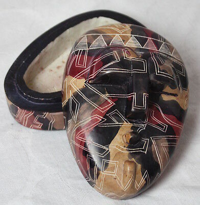 Hand Carved African Soapstone Jewelry Trinket Box Mask Design
