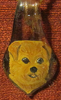 Norfolk Terrier hand painted on glass spoon pendant/bead/necklace