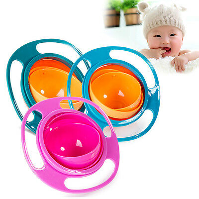 Baby Kid Non Spill Feeding Toddler Gyro Bowl Avoid Food Spilling 360 Rotating DE