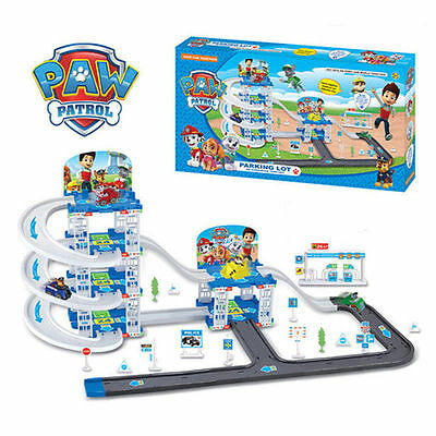 4pcs Cute Paw Patrol Parking Lot Playground Pups Car Action Figure Doll Kids Toy