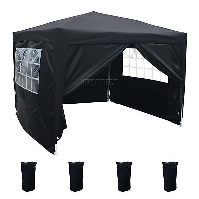 FoxHunter Waterproof 3x3m Pop Up Gazebo Marquee Garden Awning Party Tent Black
