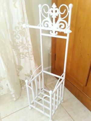 Handmade Iron French Style Toilet Roll Holder Stand With Storage White HYL017