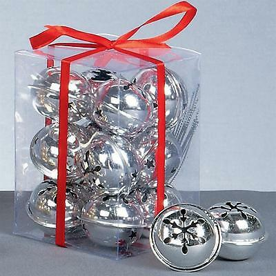Premier Christmas Decoration 12 Pack Snowflake 40mm Jingle Bell Baubles - Silver