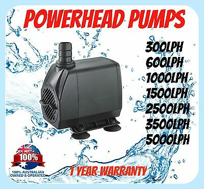 AQUARIUM PUMP - 300 600 1000 1500 lph Pond Powerhead AU Plug Tank Submersible
