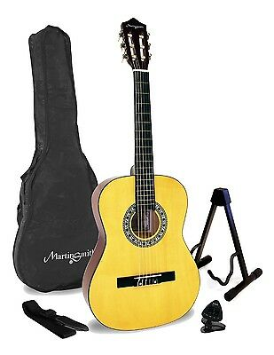 Acoustic Classical Guitar Pack Martin Smith Nylon Strings Guitar Strap Natural