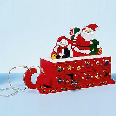 Premier Christmas Wooden Advent Calendar - Sleigh Design - 24 Doors