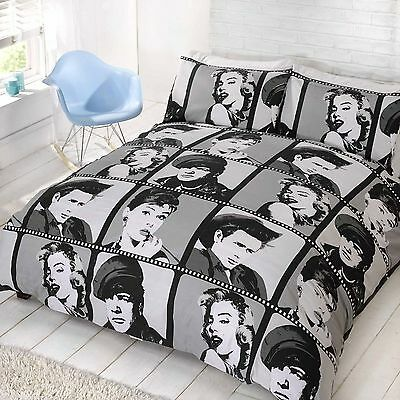 Hollywood Actors Icons Double Duvet Cover & Pillowcase Set Marilyn Monroe Brando