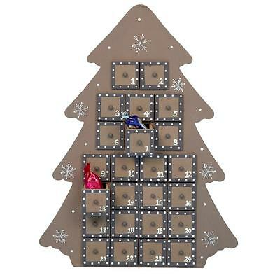 Premier Christmas Wooden Advent Calendar - Brown Tree Design - 24 Drawers
