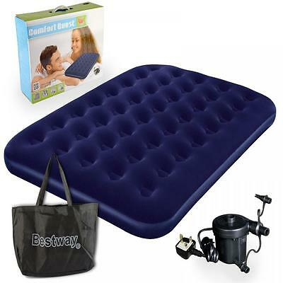 Bestway Flocked Double Airbed Inflatable Air Bed Mattress And Electric Pump Set